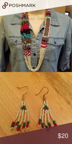 """Santa Fe Beaded Set Necklace:  32"""" long with 2"""" extension  Earrings:  Fish hook style with 1.75"""" drop. Jewelry Necklaces"""