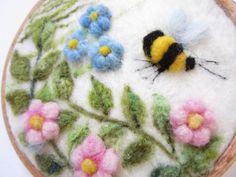 Pintura de felted fieltro de aguja paisaje arte en miniatura