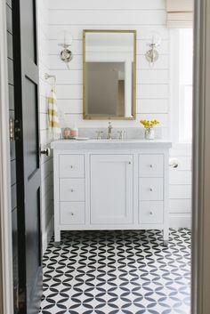 Shiplap walls and cement tile floor in bathroom remodel, Studio McGee Blog, via Laurel Home Blog.