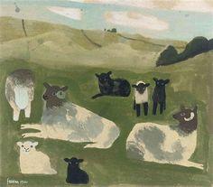 Mary Fedden - Sheep, 1980, gouache