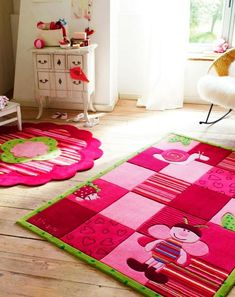 Beautiful Pink Rug With Flowers For The Kids Room Carpets For Kids, Pink Bedroom For Girls, Purple Area Rugs, Cheap Carpet Runners, Girl Bedroom Designs, Pink Rug, Bedroom Carpet, Cool Rugs, How To Clean Carpet