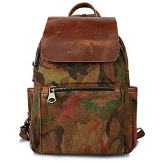 Camouflage Pattern Splicing Zipper Backpack ❤ liked on Polyvore featuring bags, backpacks, zip close bags, brown bag, camo rucksack, zip bag and zip backpack