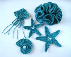 Crochet Sea Motifs Set of 5 in Teal Sea Star by GoldenLucyCrafts, $19.00