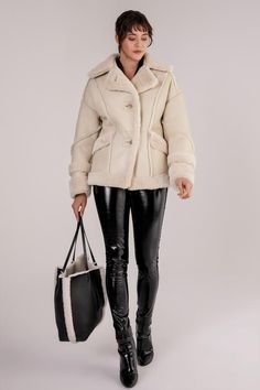 Striking design of shearling leather jacket featured with wool stripe details. Shawl, soft wool collar and wool end cuffs with stipe details. Double button closure with stripes design. Leather Boots, Leather Jacket, Shearling Vest, Stripes Design, Winter Jackets, Wool, Furs, Shawl, Closure