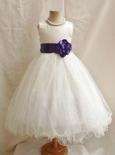 Flower Girl Dresses - IVORY with Purple Eggplant (FD0FL) - Wedding Easter Junior Bridesmaid - For Children Toddler Kids Teen Girls