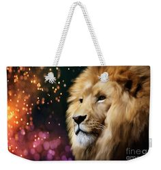 Weekender tote bag with lion artwork by Tracey Lee Art Designs Male Lion, Weekender Tote, Bag Sale, Art Designs, Tote Bags, Enchanted, Sparkle, Handbags, Night