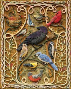 The Birds of Beebe Woods una de las creaciones de bordado más bonitas de Salley Mavor.