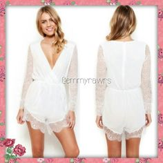 $25 HP special- The LILIAN White Laced Romper Add this gorgeous white laced chiffon Romper to your closet.  Features an elastic waist and a solid white color!  ** Gold belt is not included!! ** ** I only trade for cash! Nothing else! ** Use offer feature Dresses