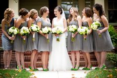 short gray bridesmaid dresses with green shoes - OUT! ... how could I have ever thought of this! yikesSSS!!!!!!