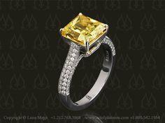 Beautifully unique. Yellow diamond engagement ring by Leon Megé.
