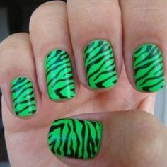neon green zebra print nails!! :)