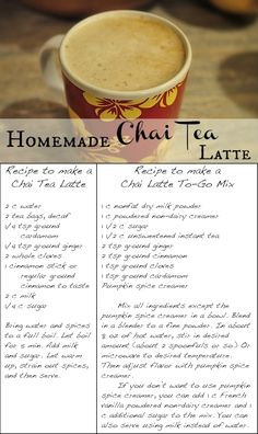 Recipes for Chai Latte and Chai Latte To-Go Mix which is great to keep on hand or to give to someone as a gift. From my sister-in-law Alissa. Thank you! This stuff is super yummy!