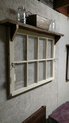 8 pane window with hooks and shelf