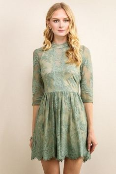 be.stunning. in this amazing lace dress. this dress has a delicate lace pattern and a beautiful button down back. 100% polyester