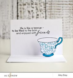 On first appearance, you may be wondering where the tea is on this design. All will be revealed once the card is opened though…Ta-dah! A pop-up teacup and a sentiment that rings so true!  http://altenewblog.com/2016/11/25/stamp-focus-vintage-teacup/