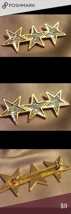 Pin Sparkly 3 star gold pin just in time for Independence Day...Hurry before it's gone.  In good used condition. Jewelry Brooches