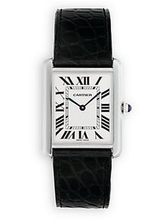 Cartier - Tank Solo Large Stainless Steel & Alligator Strap Watch