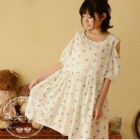 2015 new mori girl hot sale and popular summer women's cartoon print short-sleeve dress