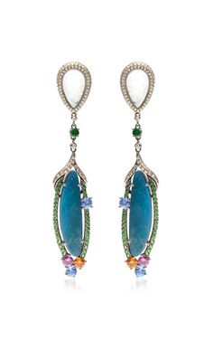 Oval Jade Chandelier Earrings with diamonds, sapphires, green garnets, opals and jade set in 18k White Gold  by Wendy Yue - Resort 2015 (=)