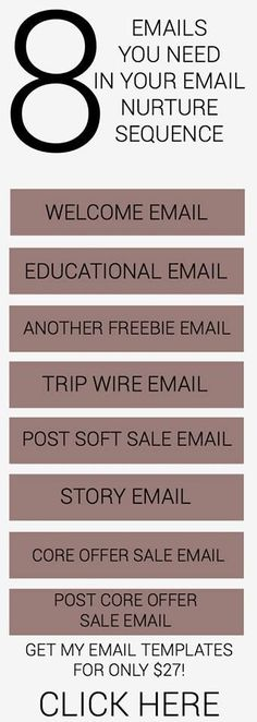 8 emails you need in your email nurture sequence.