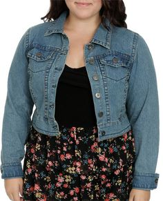 $38.50 Cropped Denim Jacket - Outerwear -- wet seal plus