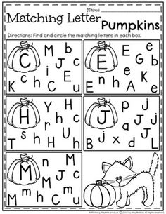 Matching Letter Worksheets for Preschool - Alphabet Activities for October Letter Worksheets For Preschool, Preschool Curriculum, Preschool Writing, Preschool Learning, Kindergarten Worksheets, Kindergarten Classroom, Preschool Lessons, Early Learning, Handwriting Worksheets