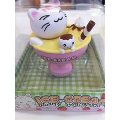 Amazon.com: Solar Powered Bobble Head Happy Cat Kitty In The Ice Cream Cup Home Decoration Car Decoration: Toys & Games