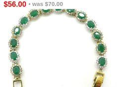 ON SALE Emerald Tennis Bracelet Topaz & by LeesVintageJewels