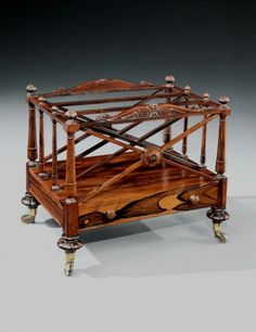 Rare Regency Rosewood Canterbury made by Gillows of Lancaster possibly designed by George Smith with stamped Cope's Patent castors by GEORGE SMITH : The British Antique Dealers' Association