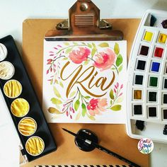 Dear @inxpensieve I hope you'll like this one and I hope to bump with you again in the future #calligrafikas #brushlettering #watercolor  Paper: Canson 200gsm Paint: Van Gogh watercolors & Fintec Arabic gold Brush: Silver Brush Black Velvet round no 4