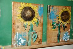 Mixed Media Sunflower Paintings - by Perfect Bohemian
