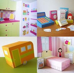 small cardboard toys (/doll house) by nabeln Cardboard Toys, Paper Toys, Paper Paper, Diy For Kids, Crafts For Kids, Fun Crafts, Paper Crafts, Toy House, Dollhouse Furniture