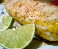 Grilled Mexican Street Corn < With cheese (creamy), lime (sweet) & red pepper (spicy) / CR