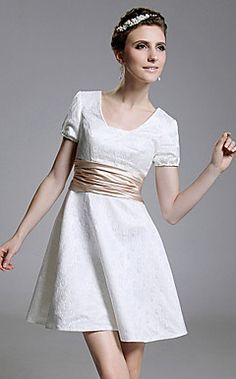 i want this for my 8th grade graduation :) - Satin A-line Square Neckline Short/ Mini Cocktail Dress