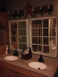 Repurposed windows into bathroom mirrors