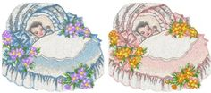 Free Machine Embroidery Design of the Month Baby Boy and Baby Girl