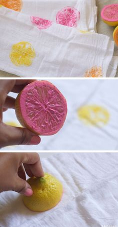 Colorful Citrus Stamped Tea Towels | Click Pic for 28 DIY Kitchen Decorating Ideas on a Budget | DIY Home Decorating on a Budget