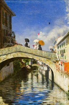 Segantini, Il Naviglio a Ponte San Marco, 1880 . libreriamo.it