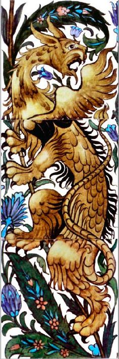Winged Beast tile design by William De Morgan for Morris & Co.