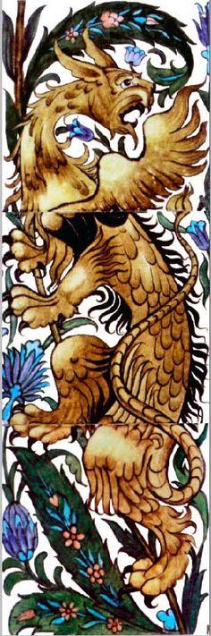 Arts and Crafts Tiles: William Morris, William De Morgan Tile, Victorian and Medieval Tiles Dragons, Art Nouveau, Medieval, Victorian Tiles, Vintage Tile, Tile Art, Tile Murals, Decorative Tile, Arts And Crafts Movement
