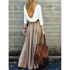 $19.56 Long Sleeve Maxi Draped Open Back Dress - Khaki