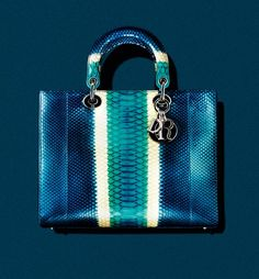 """DIOR  Large """"Lady Dior"""" top-handle bag in turquoise/navy gradient python with silver hard - bags, messenger, gucci, celine, laptop, fabric bag *ad"""