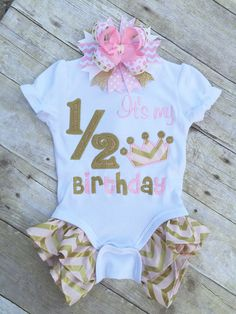 Pink and Gold 1/2 Birthday Shirt. Pink and Gold by TwoSewinCute