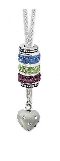Sterling Silver 3 Birthstone Bead Charm Necklace for Mom