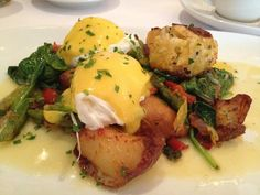 Eggs Oscar, like Benedict but add crab and asparagus.