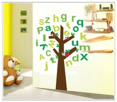 wall decoration stickers -YYone Tall Tree with 26 English Letters in Green and Apples Wall Decal Home Decor Sticker Tree Mural
