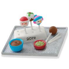 "2014 HALLMARK KEEPSAKE ""SEASON'S TREATINGS"" CAKE POP SANTA / SNOWMAN ORNAMENT"