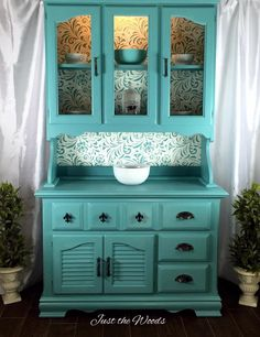 Custom Sea Foam & Stencil China Cabinet from a brown cabinet. See brown cabinet picture.