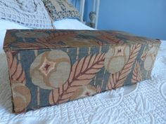 Antique French artdeco floral fabric covered sewing, keepsake, glove or jewelry box, vintage decorative storage box, boudoir home decor Fabric Covered Boxes, Fabric Boxes, Vintage Box, French Vintage, Painted Boxes, Hand Painted, Boudoir, Decorative Storage Boxes, Blue Home Decor