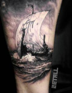 Viking ship tattoo on the inner arm. - Viking ship tattoo on the inner arm. Viking Ship Tattoo, Viking Warrior Tattoos, Viking Tattoo Sleeve, Norse Tattoo, Viking Tattoo Design, Celtic Tattoos, Tattoo Symbols, Ship Tattoo Sleeves, Sleeve Tattoos